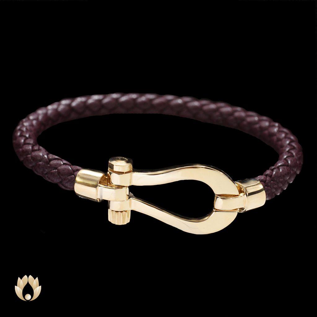 دستبند چرمی بنفش امگا